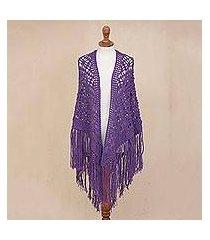 100% alpaca shawl, 'purple royalty' (peru)