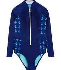 duskii girl anchor print long sleeve swimsuit - blue