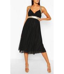 boutique mesh midi-jurk, zwart