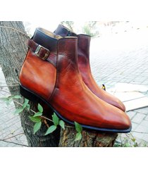 hand panted men brown chelsea boots, men ankle high formal dress denim boots new