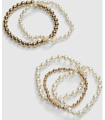 lane bryant women's pearlescent & metal beaded stretch bracelet onesz pearl