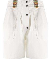 etro flared high-waisted shorts - white