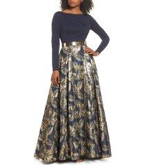 women's mac duggal long sleeve metallic waist print gown
