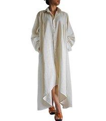 zanzea mujeres de gran tamaño cuello de solapa manga larga botones vintage algodón lino asimétrico dobladillo camisa larga sólida vestido fiesta vestido blanco -blanco