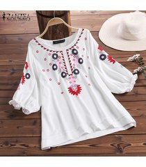 zanzea mujeres del verano de las tapas ocasionales flojos de las señoras floral de la playa camisas de la blusa pullover -blanco