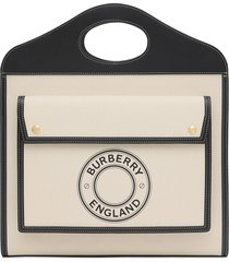 burberry logo graphic pocket tote bag - white