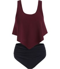 flounce ruched textured tankini swimsuit