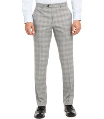 bar iii men's slim-fit active stretch performance black/white houndstooth plaid suit separate pants, created for macy's