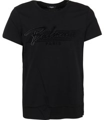 balmain bi-color flock t-shirt