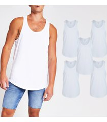 river island mens white muscle fit racer vest 5 pack
