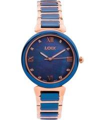 reloj loix ref l 1142-02 bicolor azul