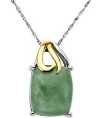 14k gold and sterling silver pendant, jade rectangle (5-3/8 ct. t.w.)