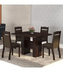 mesa de jantar 4 lugares street ameixa/chocolate - mobilarte