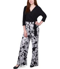ny collection petite floral-print jumpsuit