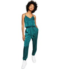 and now this women's belted satin jumpsuit