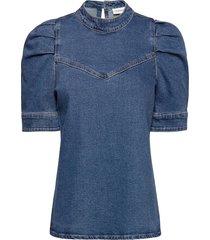 dhvitus denim blouse blouses short-sleeved blauw denim hunter