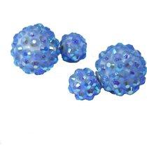 aretes azules de bolas topo  ar-10949