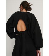 na-kd reborn ekologisk tröja med öppen rygg - black