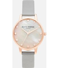 olivia burton women's classics midi mop dial watch - grey & rose gold