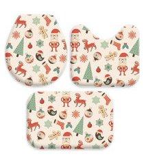 kit 3 tapetes decorativos para banheiro wevans natal multicolorido