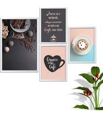 kit conjunto 4 quadro oppen house s frases comece com cafã© lojas cafeteria xãcaras grã£os moldura branca decorativo interiores    sem vidro - branco