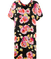 essentiel antwerp floral print shift dress - black