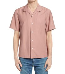 men's rag & bone avery short sleeve button-up camp shirt, size small - pink