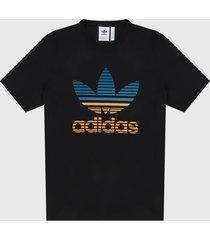 camiseta negro-multicolor adidas originals trifolio ombré