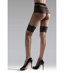 natori luxe lace back seam tights, women's, black, size l natori