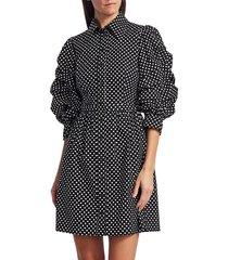 michael kors women's ruched-sleeve cotton shirt dress - black white - size 8
