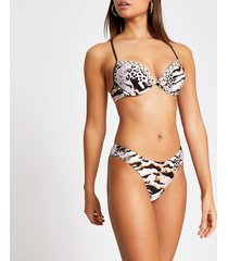 river island womens brown snake printed high leg bikini bottoms