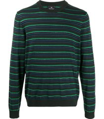 ps paul smith long sleeved striped pullover - green