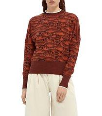 women's scotch & soda jacquard sweater, size x-small - red
