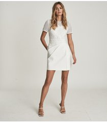 reiss freyda - lace detailed mini dress in white, womens, size 14