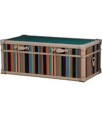 baú mesa de centro de madeira glorie com alças de couro
