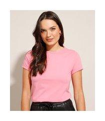 camiseta básica manga curta dobrada decote redondo rosa