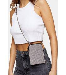 fifi pink diamante pouch cross body bag - pink
