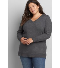 lane bryant women's long-sleeve v-neck sweater 14/16 dark heather grey