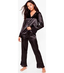 womens get chiffon with it petite satin pants pajama set - black