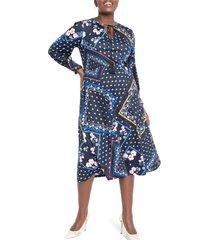 plus size women's eloquii scarf print long sleeve midi dress