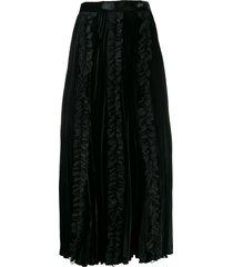 christopher kane pleated velvet frill skirt - black