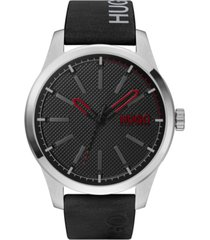 hugo men's #invent black leather strap watch 46mm