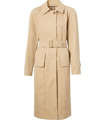 burberry belted-waist single-breasted coat - neutrals