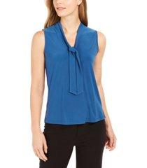 anne klein sleeveless tie-neck blouse