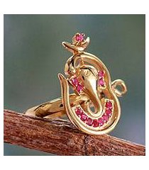 gold vermeil ruby cocktail ring, 'om ganesha' (india)