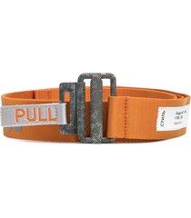 heron preston logo print belt - orange