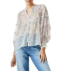 women's alice + olivia margery floral frill long sleeve blouse, size small - white