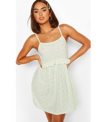 jersey broderie strappy frill detail smock dress, mint