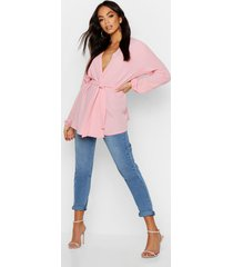 pastel woven wrap top, pink