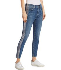 7 for all mankind women's high-rise foil racing stripe ankle skinny jeans - blue - size 23 (00)